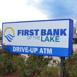First Bank of the Lake sign