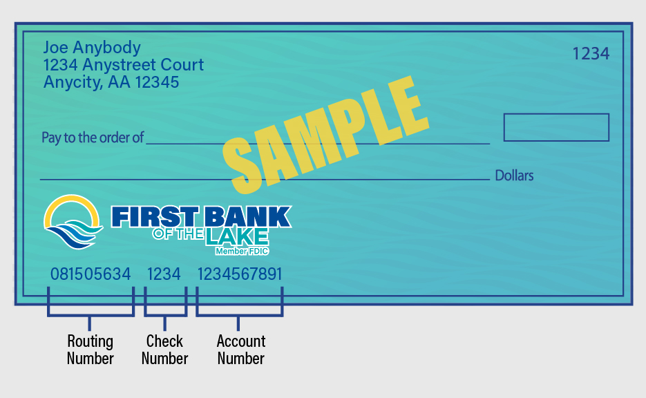 Graphic of a First Bank of the Lake check showing the bank's routing number.