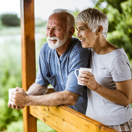 Mature couple on patio