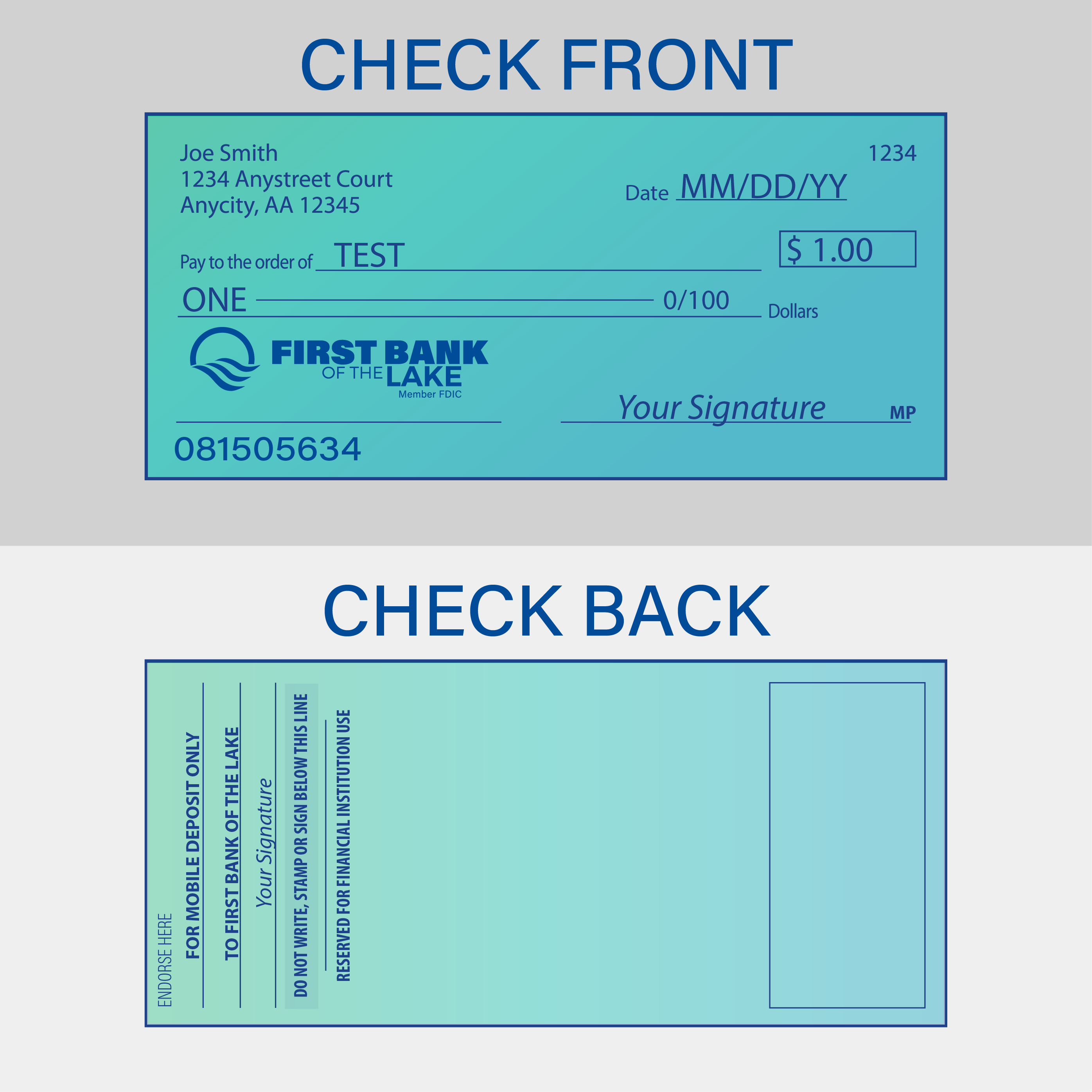 Mobile Deposit graphic of the front and back of a check.